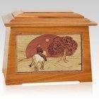 Horse & Moon Mahogany Aristocrat Cremation Urn