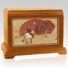 Horse & Moon Mahogany Cremation Urn For Two