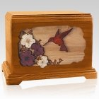 Hummingbird Mahogany Cremation Urn for Two