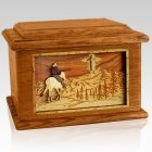 Last Horse Ride Mahogany Memory Chest Cremation Urn