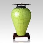Raku Tall Lime Green Cremation Urn
