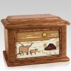 Longhorn Walnut Memory Chest Cremation Urn