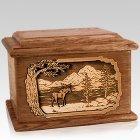 Moose Walnut Memory Chest Cremation Urn