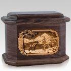 Moose Walnut Octagon Cremation Urn