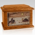 Motorcycle Moon Mahogany Memory Chest Cremation Urn