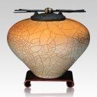 Raku Orange Star Extra Large Cremation Urn