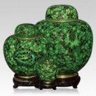 Oriental Green Cloisonne Cremation Urns