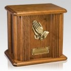 Praying Hands Wood Cremation Urn