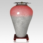 Raku Tall Red Star Cremation Urn