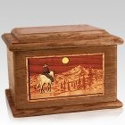 Riding Home Walnut Memory Chest Cremation Urn