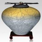 Raku Sage Yellow Multi Family Cremation Urn