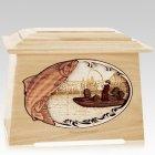 Salmon Fishing Maple Aristocrat Cremation Urn