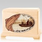 Salmon Fishing Maple Cremation Urn For Two