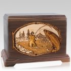 Salmon Stream Mahogany Cremation Urn For Two