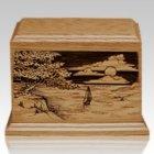 Shining Seas Walnut Wood Urn