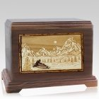 Snowmobile Walnut Cremation Urn for Two