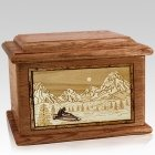 Snowmobile Walnut Memory Chest Cremation Urn