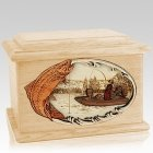 Trout Fishing Maple Memory Chest Cremation Urn