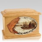 Trout Fishing Oak Memory Chest Cremation Urn