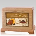 Trucker Oak Cremation Urn For Two