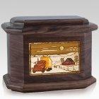 Trucker Walnut Octagon Cremation Urn
