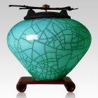 Raku Turquoise Green Multi Family Cremation Urn