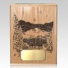 Mountains At Night Oak Wood Cremation Urn