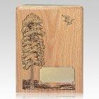 Tree & Doves Oak Wood Cremation Urn