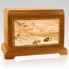 Walk On The Beach Mahogany Cremation Urn For Two