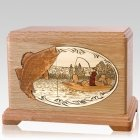Walleye Fishing Oak Cremation Urn for Two