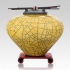 Raku Yellow Extra Large Cremation Urn