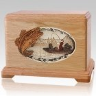 Boat Fishing Oak Cremation Urn For Two
