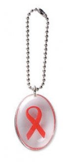 Red Ribbon Stone on a Chain