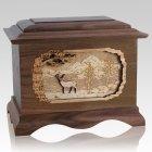 Deer Walnut Cremation Urn