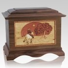 Horse & Moon Walnut Cremation Urn