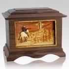 Last Horse Ride Walnut Cremation Urn