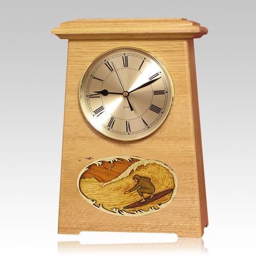 Surfing Astoria Clock Oak Cremation Urn