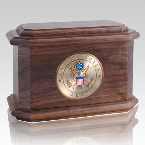Patriot Army Walnut Wood Urn