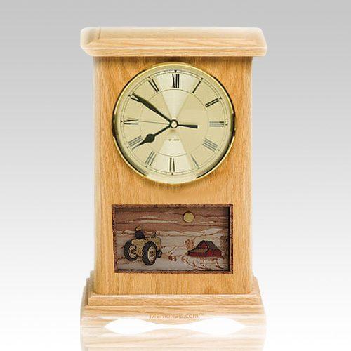 Tractor Clock Oak Cremation Urn