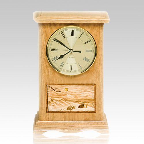 Walk on the Beach Clock Oak Cremation Urn