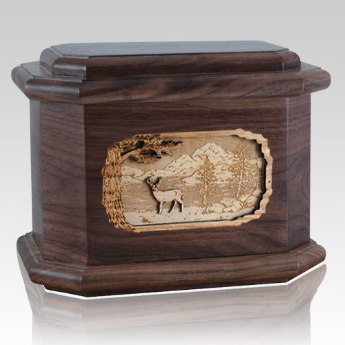 Deer Walnut Octagon Cremation Urn