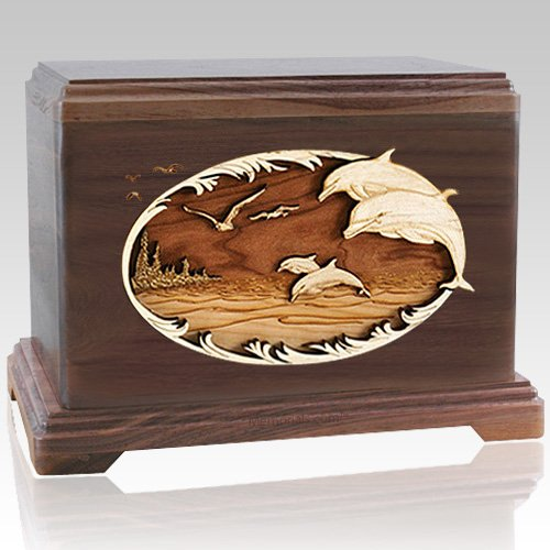 Dolphin Walnut Cremation Urn For Two
