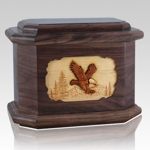 Eagle Walnut Octagon Cremation Urn