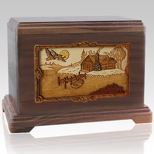 Rustic Paradise Walnut Cremation Urn For Two