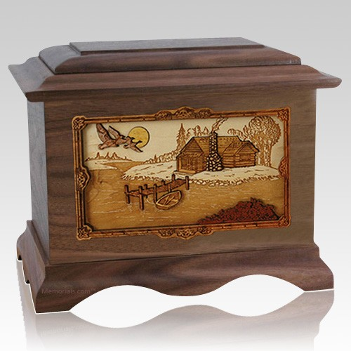 Rustic Paradise Walnut Cremation Urn