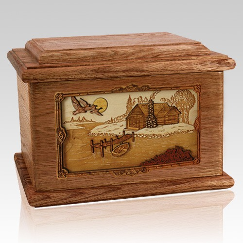 Rustic Paradise Walnut Memory Chest Cremation Urn