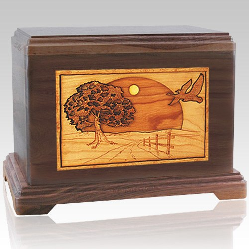 Geese Walnut Cremation Urn For Two