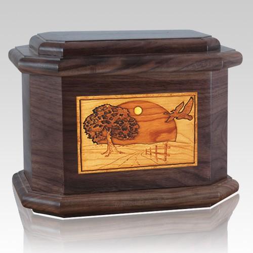 Geese Walnut Octagon Cremation Urn