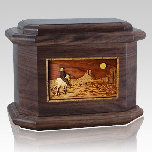 Horse Moon Walnut Octagon Cremation Urn