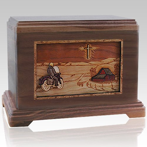 Motorcycle & Cross Walnut Cremation Urn For Two
